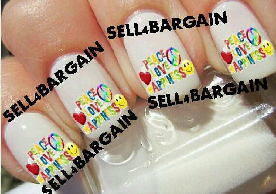 PEACE, LOVE, HAPPINESS LOGO》Tattoo Nail Art Decals《NON-TOXIC - $16.99