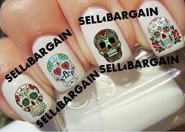 Star Quality》Sugar Skulls Day Of Dead #1》Tattoo Nail Art Decals《Non Toxic - $16.99