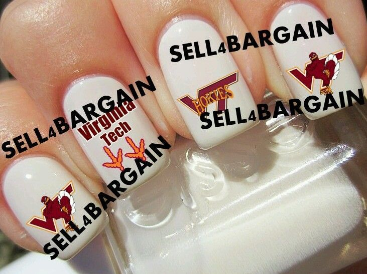 virginia tech university vt hokies collge logos tattoo nail art decals non toxic nail art. Black Bedroom Furniture Sets. Home Design Ideas