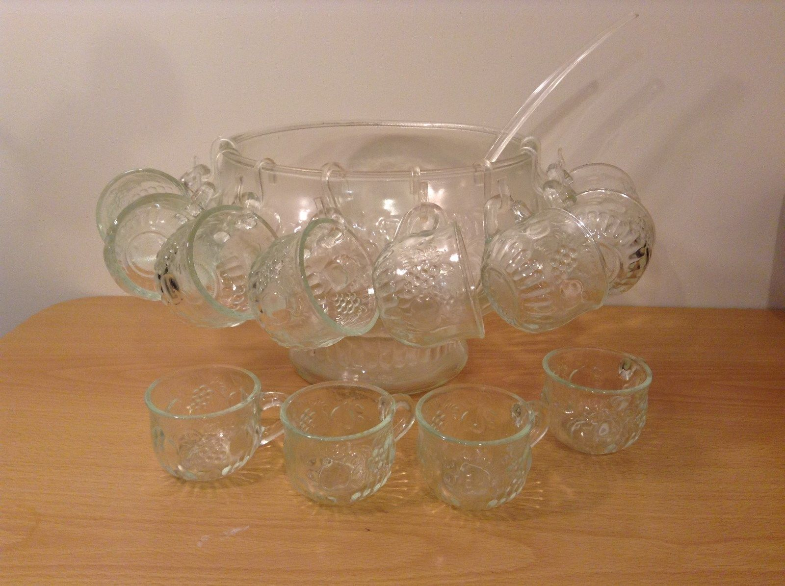 22 Piece Crystal Fruit Punch Bowl Set by Jeannette Glass Company PA Vintage