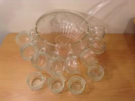 22 Piece Crystal Fruit Punch Bowl Set by Jeannette Glass Company PA Vintage image 2