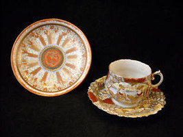 Antique Asian Tea Cup Saucer Set w extra small plate gold leaf hand painted image 1