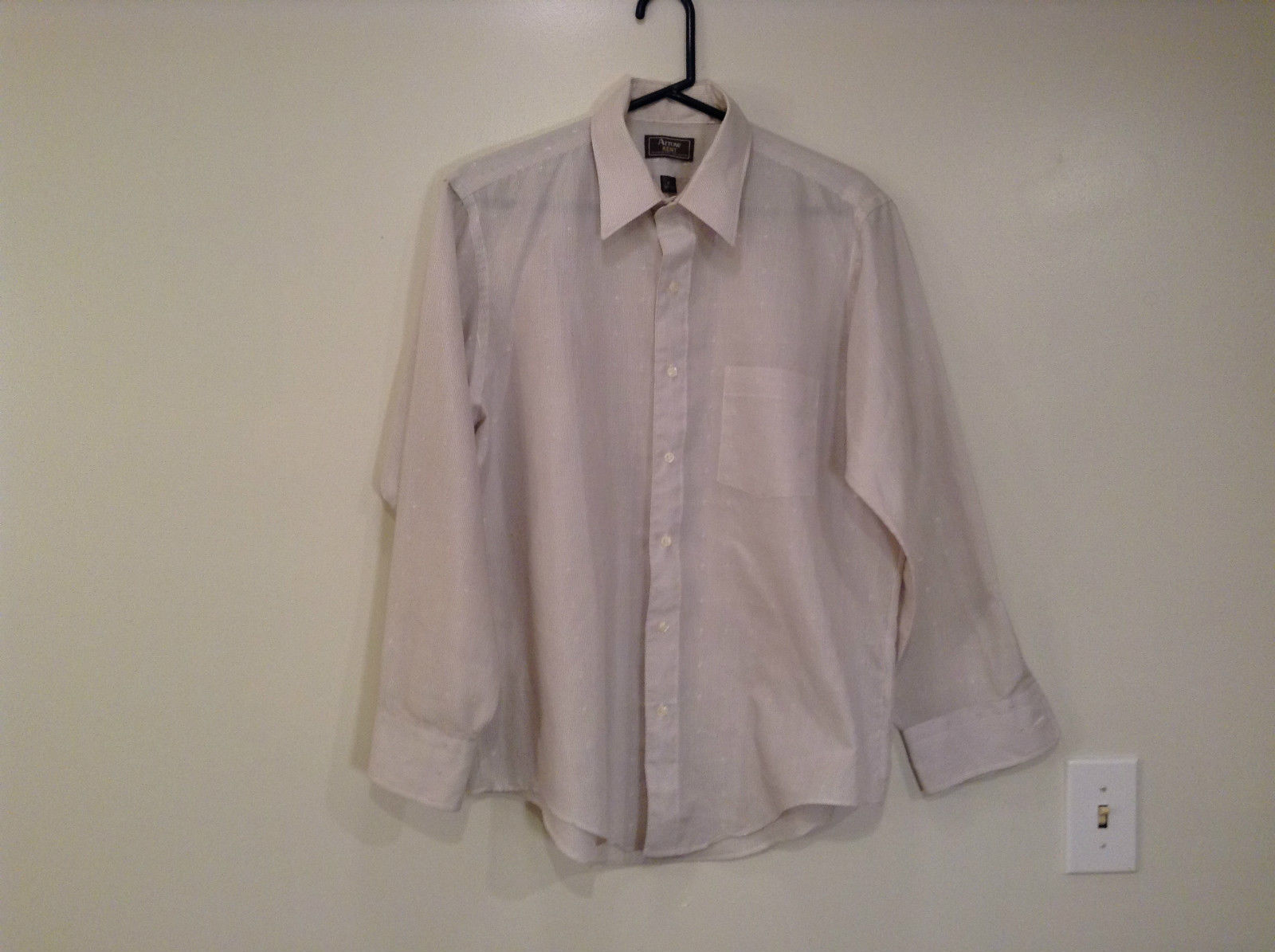Arrow Kent Size 16 Long Sleeve Button Up Shirt White with Tiny Stripes