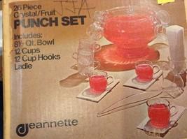 22 Piece Crystal Fruit Punch Bowl Set by Jeannette Glass Company PA Vintage image 12