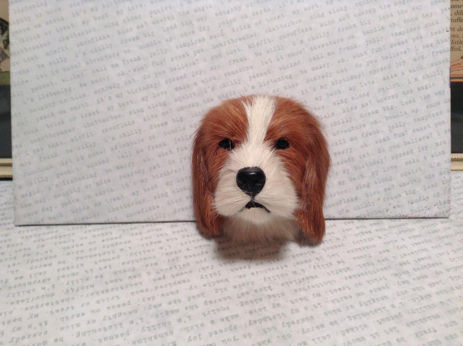 Beagle Dog Head Mini Refrigerator Magnet Recycled Rabbit Fur