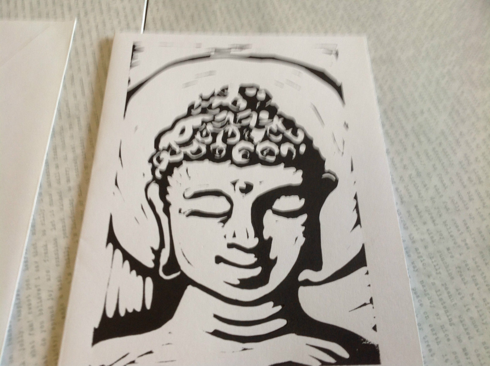Black and White Buddha Original Wood Block Handmade Greeting Card with Envelope