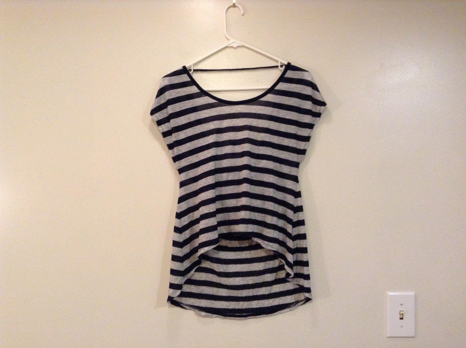 Black Gray Stripes Forever 21 Open Back Striped Shirt Boat Neck Size Medium