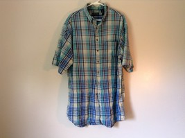 Blue Checkered Short Sleeve Lands End Button Up Collared Shirt Size Tall XL