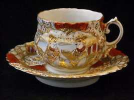 Antique Asian Tea Cup Saucer Set w extra small plate gold leaf hand painted image 8