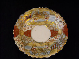 Antique Asian Tea Cup Saucer Set w extra small plate gold leaf hand painted image 10