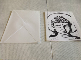 Black and White Buddha Original Wood Block Handmade Greeting Card with Envelope image 2