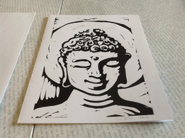 Black and White Buddha Original Wood Block Handmade Greeting Card with Envelope image 3