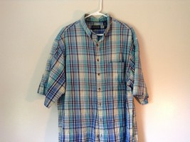 Blue Checkered Short Sleeve Lands End Button Up Collared Shirt Size Tall XL image 2