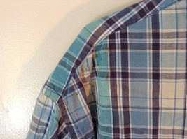 Blue Checkered Short Sleeve Lands End Button Up Collared Shirt Size Tall XL image 3