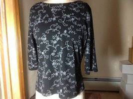 C.P.W. New York Black Flowered Patterned Three Quarter Length Sleeves Size L