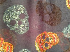 "Candy skull tie dyed scarf color choice gauzy lightweight 67"" L 39"" W"