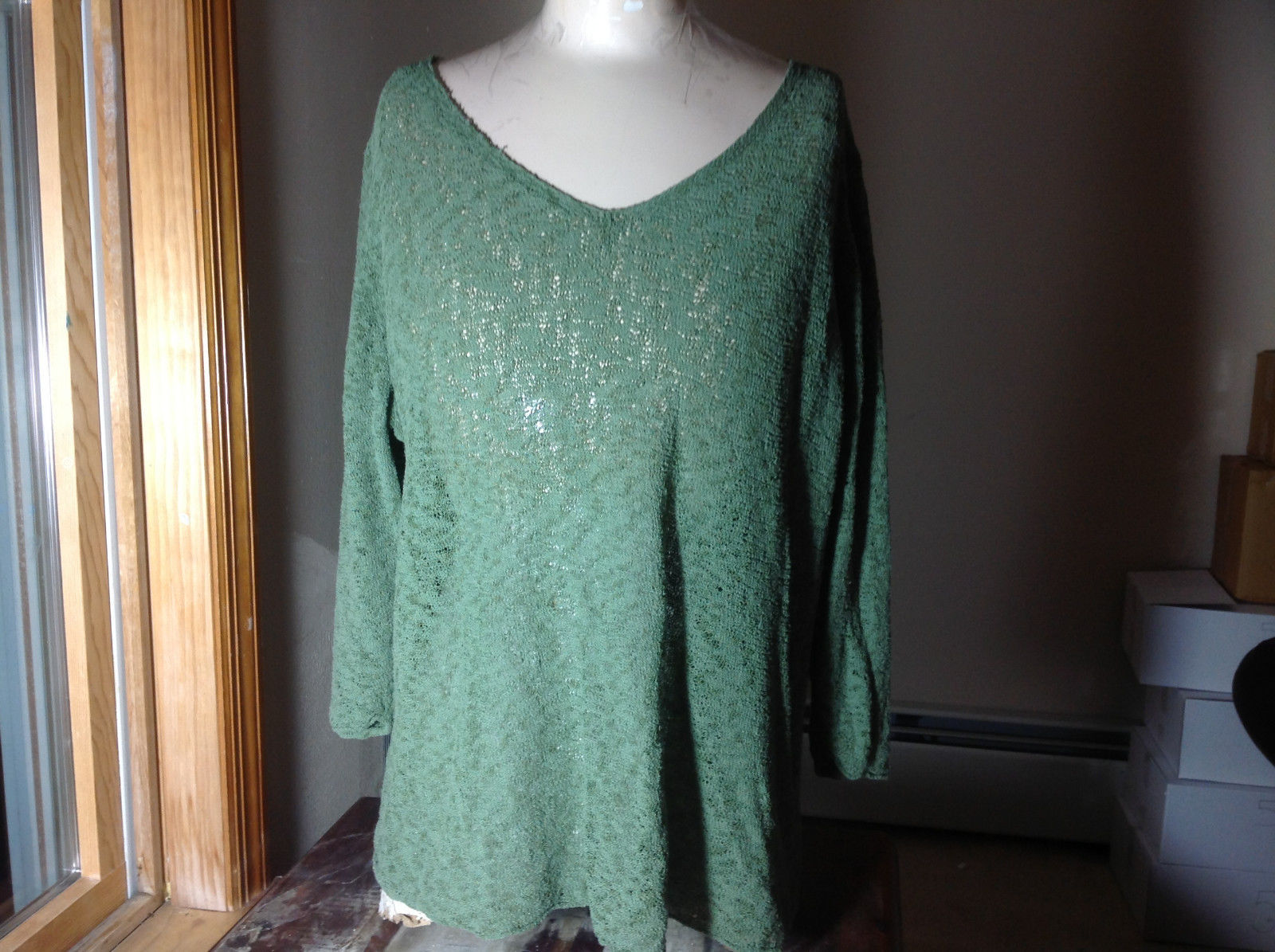 Coldwater Creek Green Light Weight Knit Sweater Sheer V-Neckline Size 2X 20W-22W
