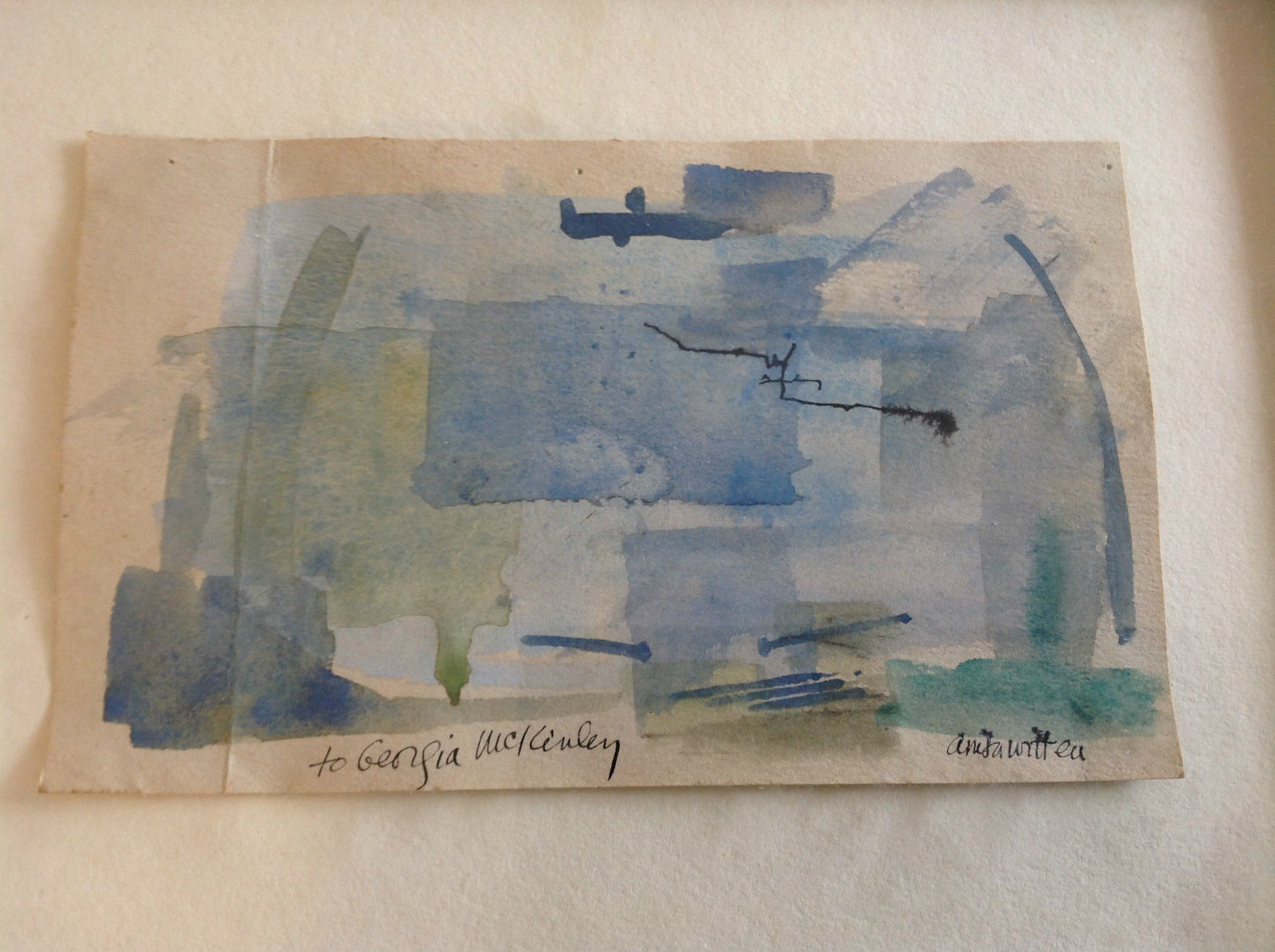 Conceptual Modernist Blue Framed Painting by Anita Witteu Dedicated
