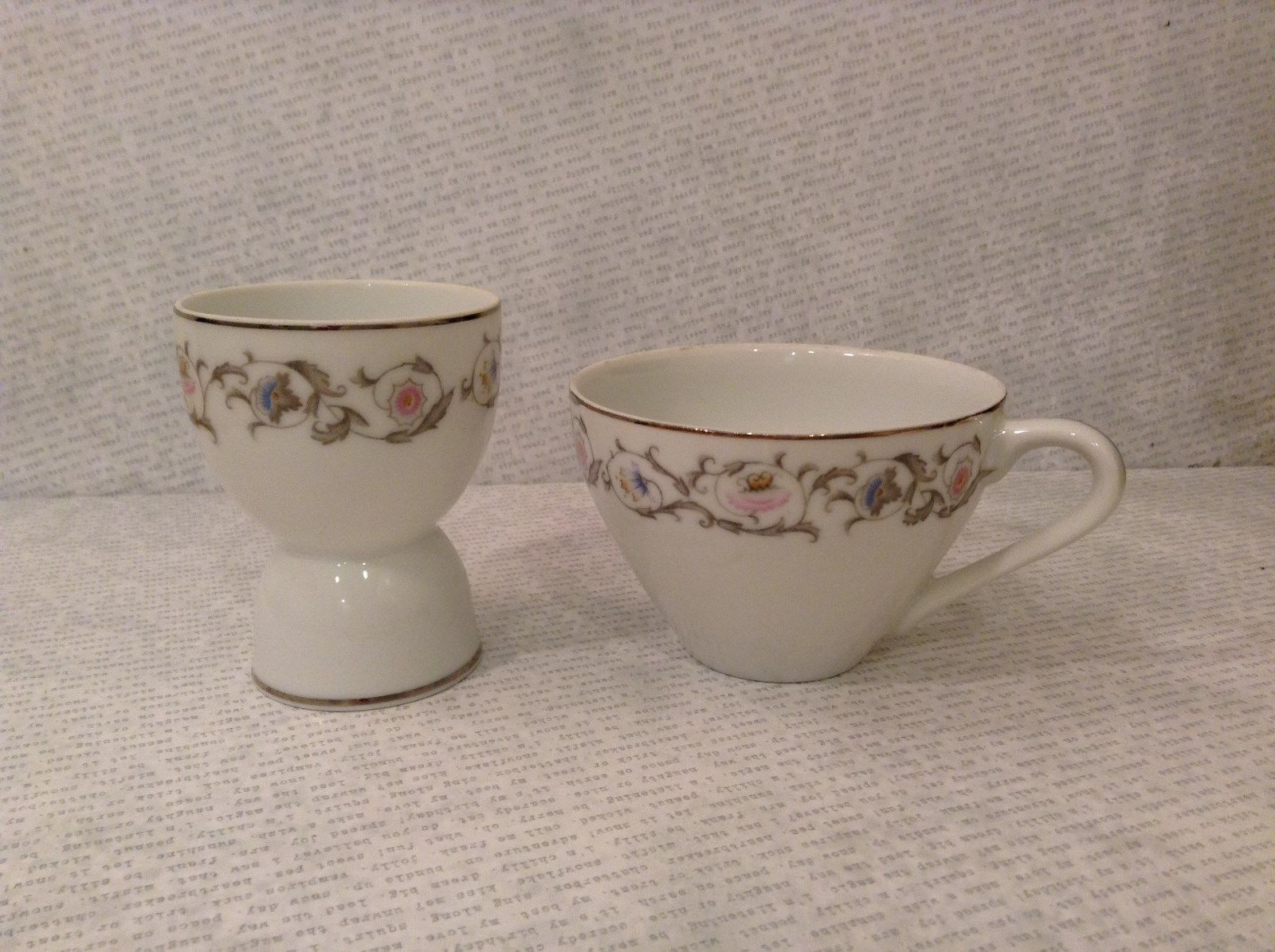 Egg Holder and Cup China Breakfast Set Yamaka White with Gray Pink Blue Flowers