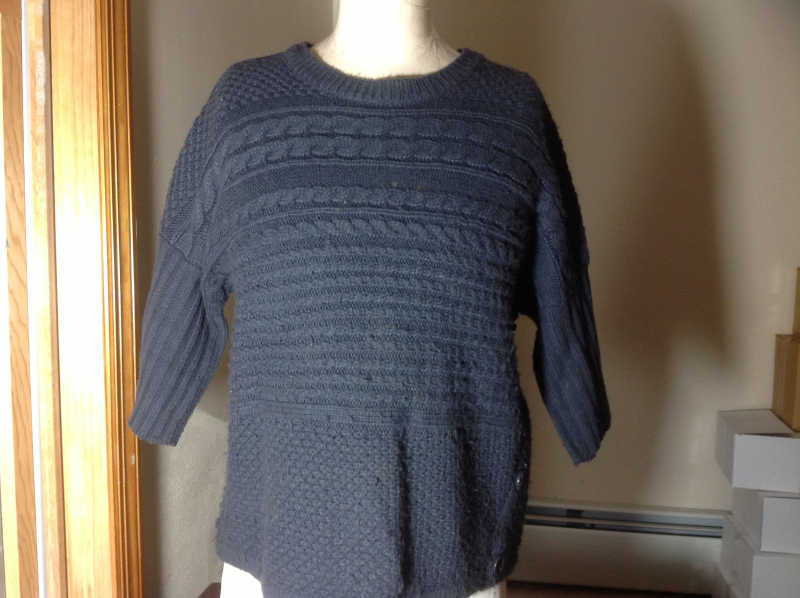 Dressbarn Charcoal Three Quarter Length Sleeves Cable Knit Sweater Size Medium