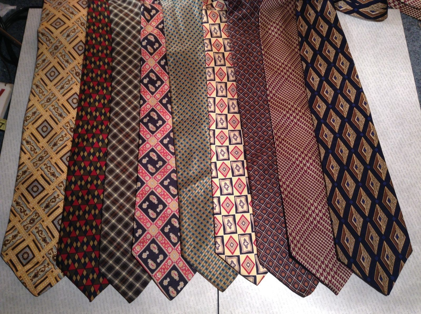 Different Light Patterned Ties Lot of Nine Varying Material and Styles