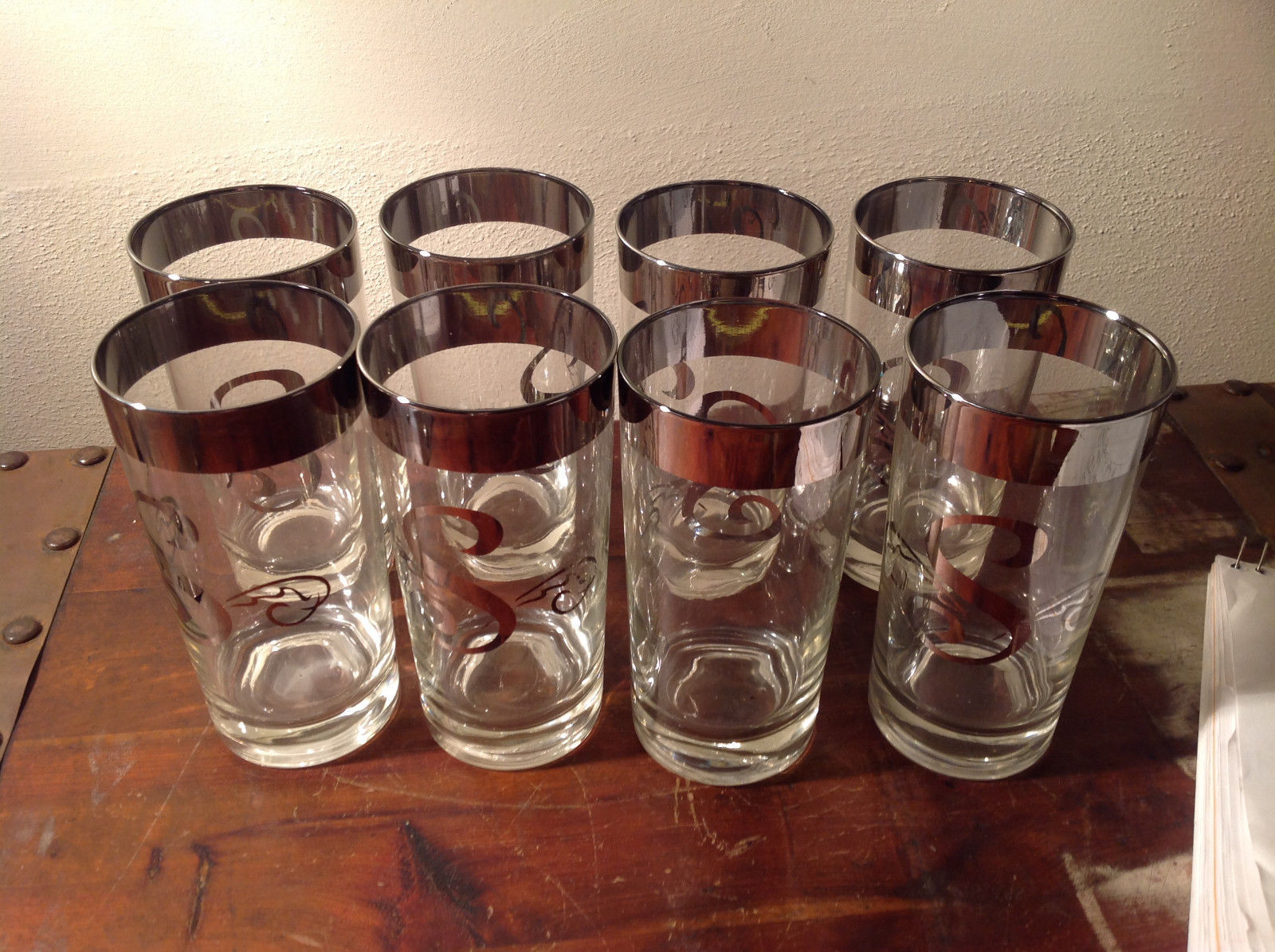 Eight Piece Set Silver Overlay Glasses Mid 1900s Large Letter S on each Glass