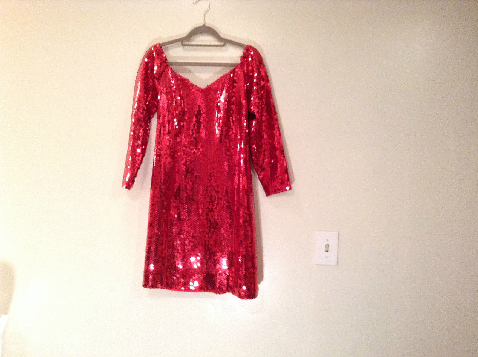Evening Party Dress Sequined Handmade Red Long Sleeve Fully Lined Wide Neck Line