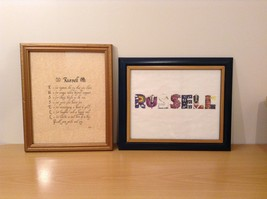 Framed Personalized Decorative Name Pictures Russell Set of 2 Wood Frames Glass
