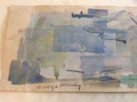 Conceptual Modernist Blue Framed Painting by Anita Witteu Dedicated image 2