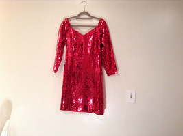 Evening Party Dress Sequined Handmade Red Long Sleeve Fully Lined Wide Neck Line image 2