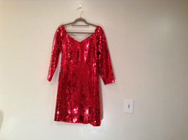 Evening Party Dress Sequined Handmade Red Long Sleeve Fully Lined Wide Neck Line image 3