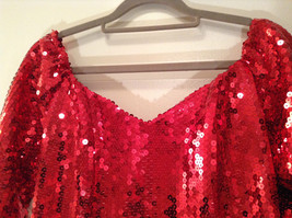 Evening Party Dress Sequined Handmade Red Long Sleeve Fully Lined Wide Neck Line image 5
