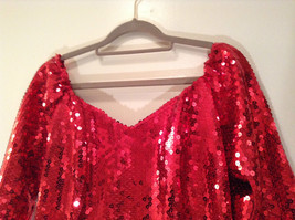 Evening Party Dress Sequined Handmade Red Long Sleeve Fully Lined Wide Neck Line image 6