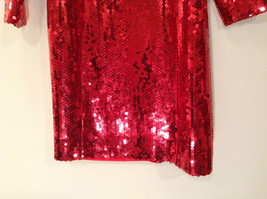 Evening Party Dress Sequined Handmade Red Long Sleeve Fully Lined Wide Neck Line image 7