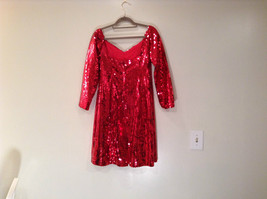 Evening Party Dress Sequined Handmade Red Long Sleeve Fully Lined Wide Neck Line image 8