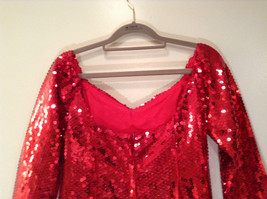 Evening Party Dress Sequined Handmade Red Long Sleeve Fully Lined Wide Neck Line image 10