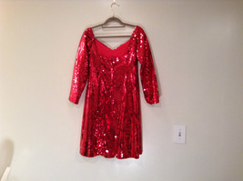 Evening Party Dress Sequined Handmade Red Long Sleeve Fully Lined Wide Neck Line image 9