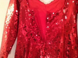 Evening Party Dress Sequined Handmade Red Long Sleeve Fully Lined Wide Neck Line image 11