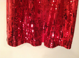 Evening Party Dress Sequined Handmade Red Long Sleeve Fully Lined Wide Neck Line image 12