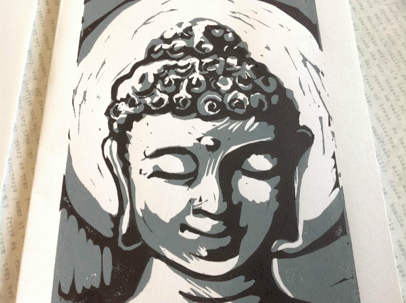 Gray and White Buddha Original Wood Block Handmade Greeting Card with Envelope