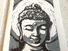 Gray and White Buddha Original Wood Block Handmade Greeting Card with Envelope