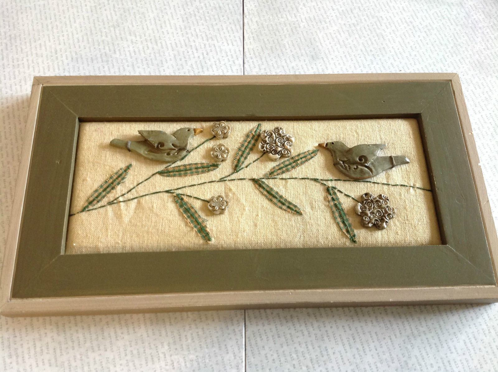 Framed Stitchery Wall Decoration Green Birds on Flower 3D Collage