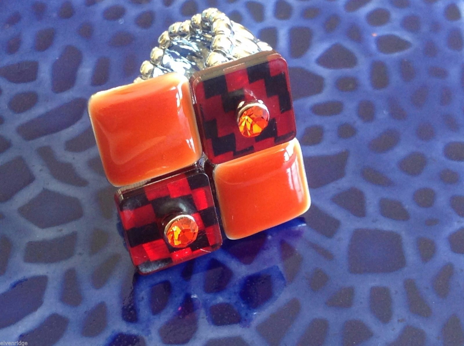 Funky vintage inspired statement red black orange tile crystal ring