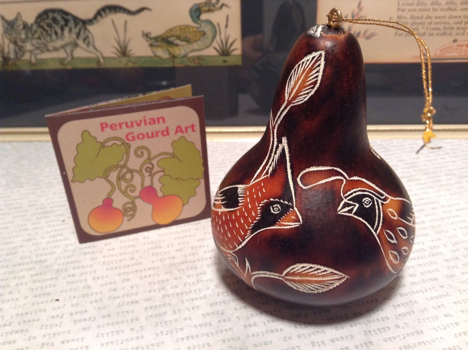 Hand Carved Art Ornament Peruvian Gourd Dark with Colorful Birds Fair Trade