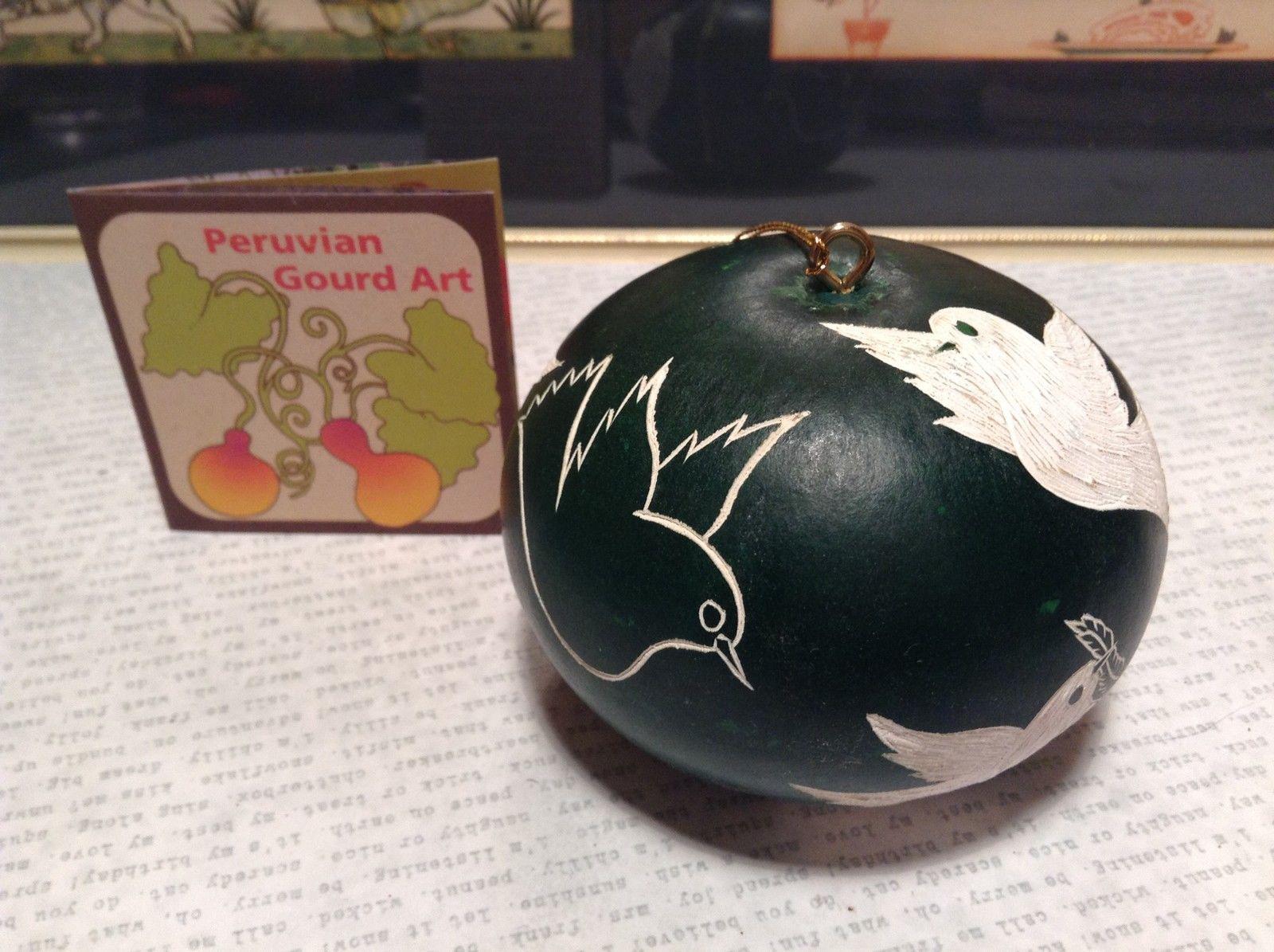 Hand Carved Peruvian Gourd Art Green with White Birds Lucuma Designs Fair Trade