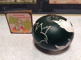Hand Carved Peruvian Gourd Art Green with White Birds Lucuma Designs Fair Trade