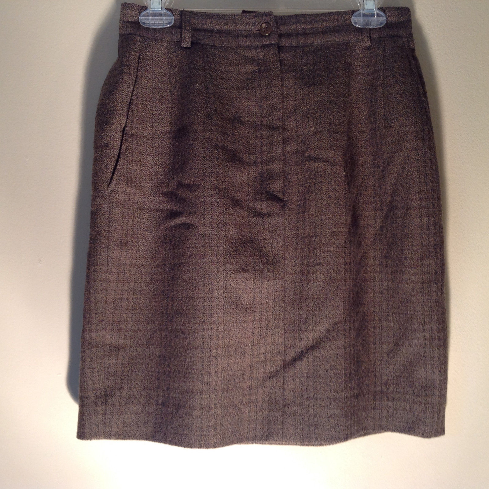 Green Brown Gold Skirt by Anne Klein II Size 10 Button and Zipper on Front
