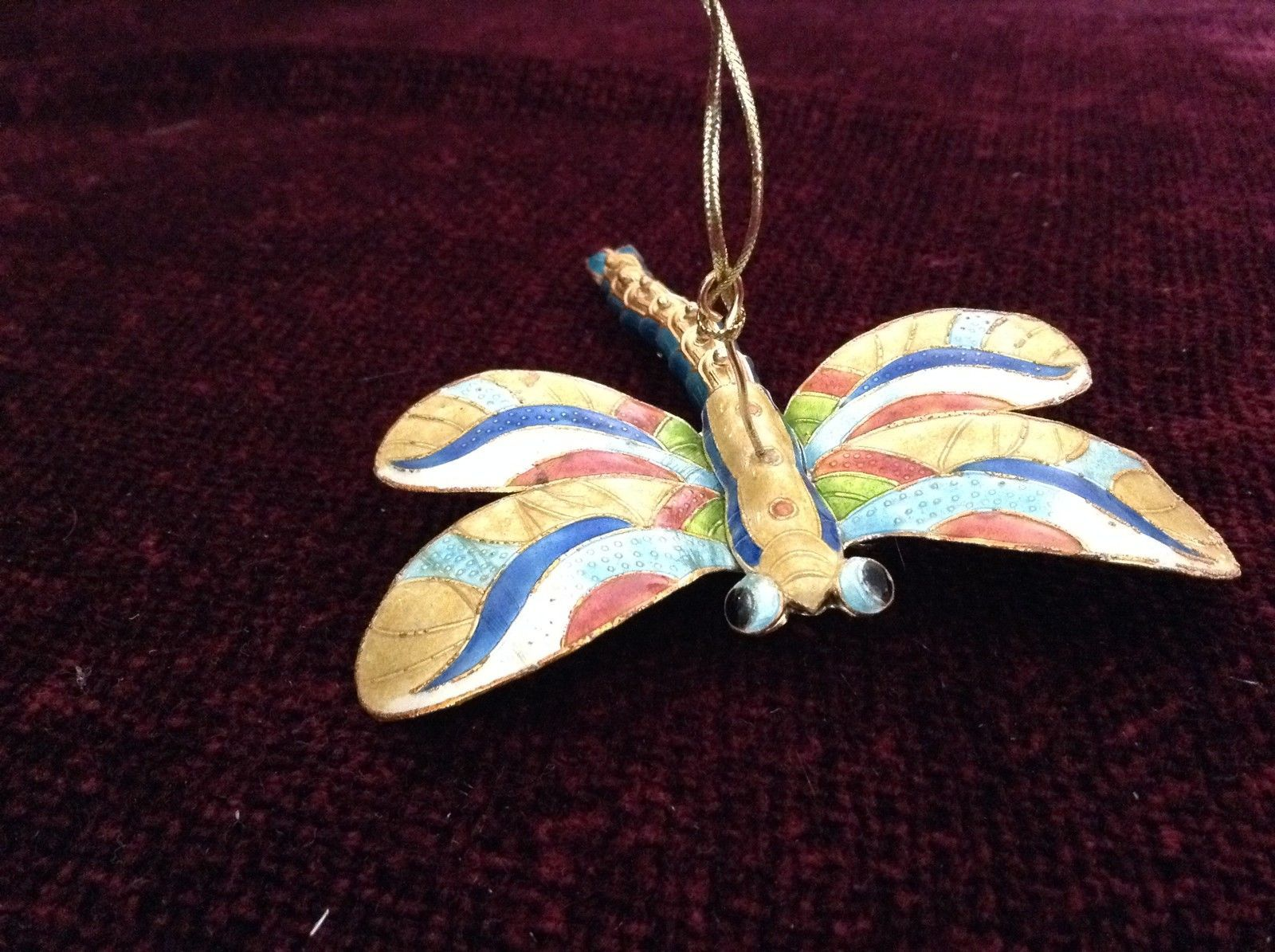 Gold Tone and Blue Four Winged Dragonfly Ornament with Moving Tail