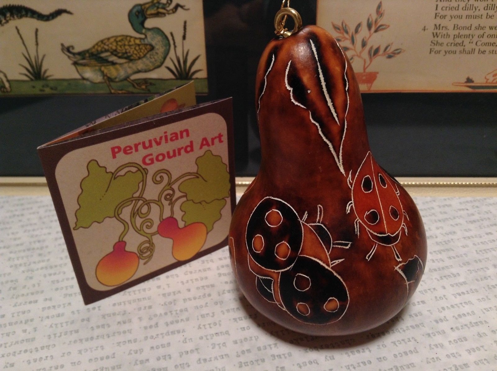 Hand Carved Art Ornament Peruvian Gourd with Ladybugs and Mushrooms Fair Trade