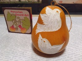 Hand Carved Peruvian Gourd Art Yellow with White Bird Lucuma Designs Fair Trade
